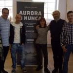Algunos aurorianos y el diseñador de la portada, Madrid, 2018